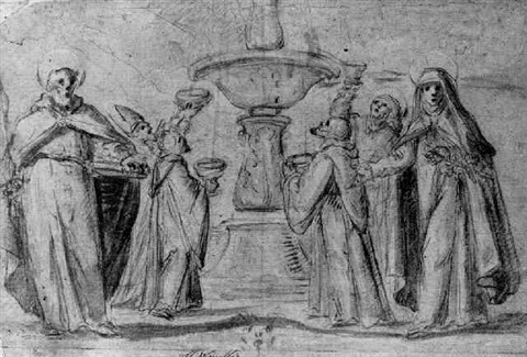 saints gathering water from a fountain saint paul and saint catherine standing in the foreground by fabrizio boschi