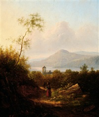 figures on a road in a vast mountain landscape, the background with a mountain lake by jacob jacobs