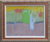 landscape with tree and yellow sky by march avery