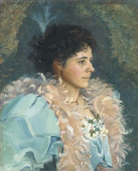 portrait of a lady, bust-length, in a blue dress and feather boa by walter bonner gash