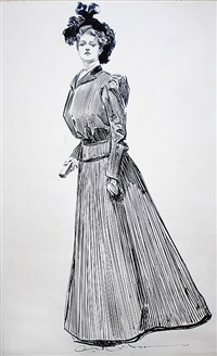 woman in dark coat holding prayerbook by charles dana gibson