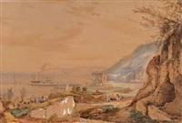 vue d'un port animé en italie by giacinto gigante