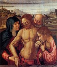 the dead christ supported by the virgin, saint john the evangelist and joseph of arimathea by davide bigordi ghirlandajo