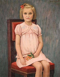 a sitting girl with a flower by soter vonasek