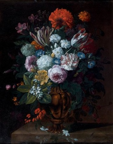 bouquet de fleurs dans un vase de bronze sur un entablement by gaspar pieter verbruggen the younger