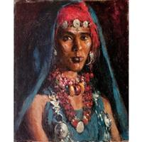 jeune femme aux colliers (+ jeune fille marocaine, smllr; 2 works) by carlos abascal