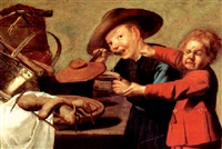 two boys quarrelling for the soup by petrus staverenus