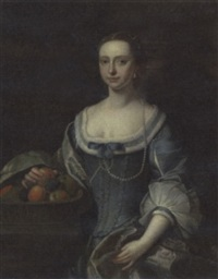 portrait of a lady in a blue dress by henry pickering