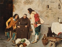 padre in discussion with lansquenets by alcide segoni