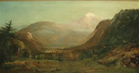 western landscape with a lake and mountains by henry arthur elkins