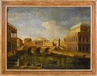 a) vue imaginaire du grand canal avec un projet idéal pour le pont du rialto, b) caprice avec des architectures palladiennes (2 works) by canaletto