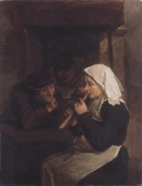 an interior with peasants singing and a woman playing a recorder before a fireplace by harmen hals