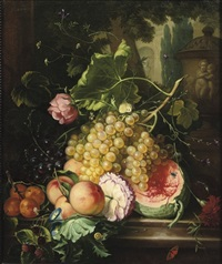 grapes, a melon, peaches and other fruit by cornelis van spaendonck