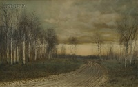 country road lined with birch trees in late autumn by george howell gay