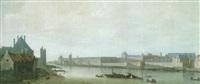 la seine vue de l'aval depuis la partie sud du pont-neuf, au soleil couchant by abraham de verwer
