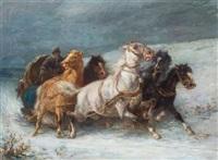 racing through the snow by adolf schreyer