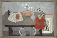 still life red and grey by william george gillies