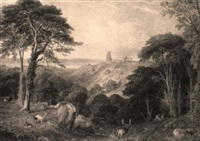 landscape with deer, cook's folly and the bristol channel beyond by henry gastineau