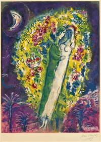 couple in mimosa, from nice and the côte d'azur by marc chagall