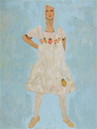 women in white dress on blue background by amit cabessa