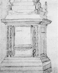 a monument with figures seated on a pedestal with fasces, below a pyramid or spire by antonio da sangallo the younger