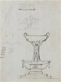 une fontaine ou un vase orné des grâces borghèse by giuseppe valadier