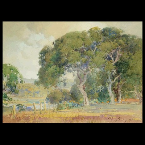 majestic oaks with poppies by percy gray