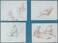 hommes tenant des paniers (study) (+ 3 others, various sizes; 4 works) by pierre hubert subleyras