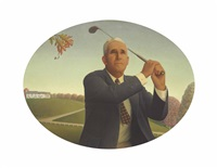 the american golfer by grant wood