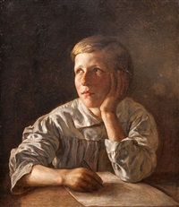 boy at a table by alexei vassileivich tyranoviev