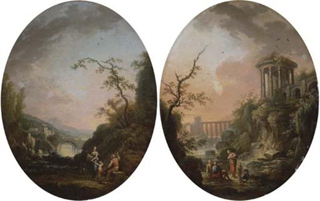 paysage italianisant animé de personnages similar pair by jean baptiste charles claudot