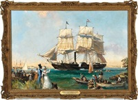 ss savannah arriving at port in 1819 by leslie arthur wilcox