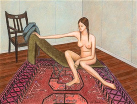 nude with chair and carpet by john brack