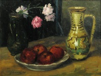still life with apples and folkloric ceramics by dan ialomiteanu