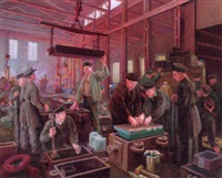 steel workers on the factory floor by genrikh frantsevich brzhozovsky