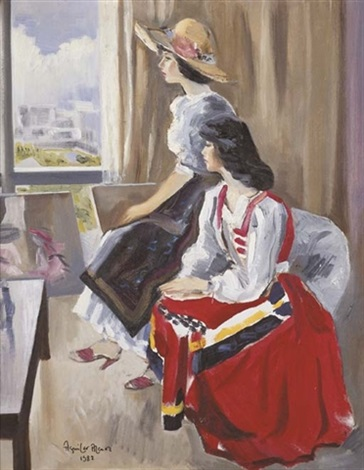 two young girls in an interior by federico aguilar alcuaz