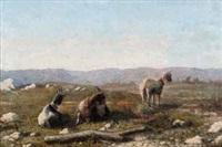 chèvres dans un paysage by françois simon