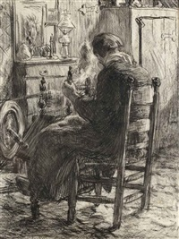 a woman working on the spinning wheel by willy sluijter