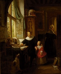 family in an interior by george gillis van haanen