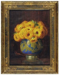 still life of yellow flowers in a porcelain vase by isidore rosenstock