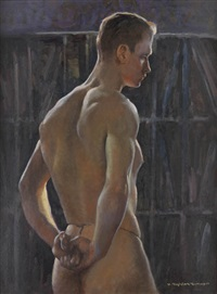 male nude figure (study) by h. boylston dummer