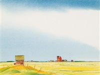 untitled - grain bin and elevators by robert newton hurley