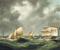 a royal navy frigate and other shipping in a heavy swell off the eddystone lighthouse; shipping in a stiff breeze (illustrated) (pair) by richard b. spencer