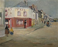 rue animée en bretagne by renée carpentier