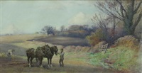 ploughing time; and preparing to harrow (pair) by henry sykes