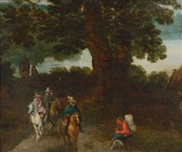 cavaliers dans un paysage by theobald michau