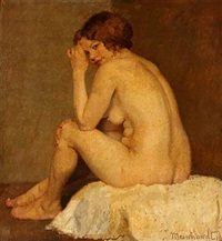 seated nude female by walter meinhardt