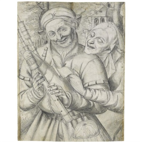 an old woman and a bagpiper by jan matsys massys