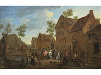 figures dancing and feasting outside a tavern by david teniers the younger