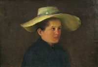 girl with hat by dimitrie mihailescu